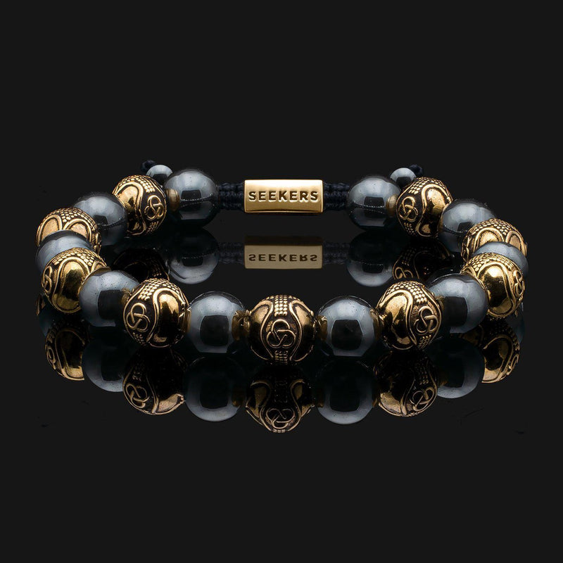 Prestige Hematite Gold Bracelet-Beaded Bracelet-Seekers Luxury-Seekers Luxury