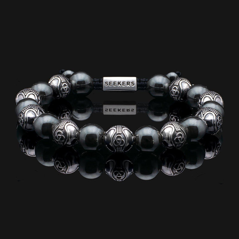Prestige Hematite Silver Bracelet-Beaded Bracelet-Seekers Luxury-Seekers Luxury