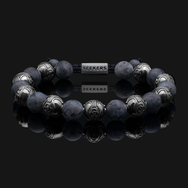 Prestige Labradorite Matte Black Gold Bracelet-Beaded Bracelet-Seekers Luxury-Seekers Luxury