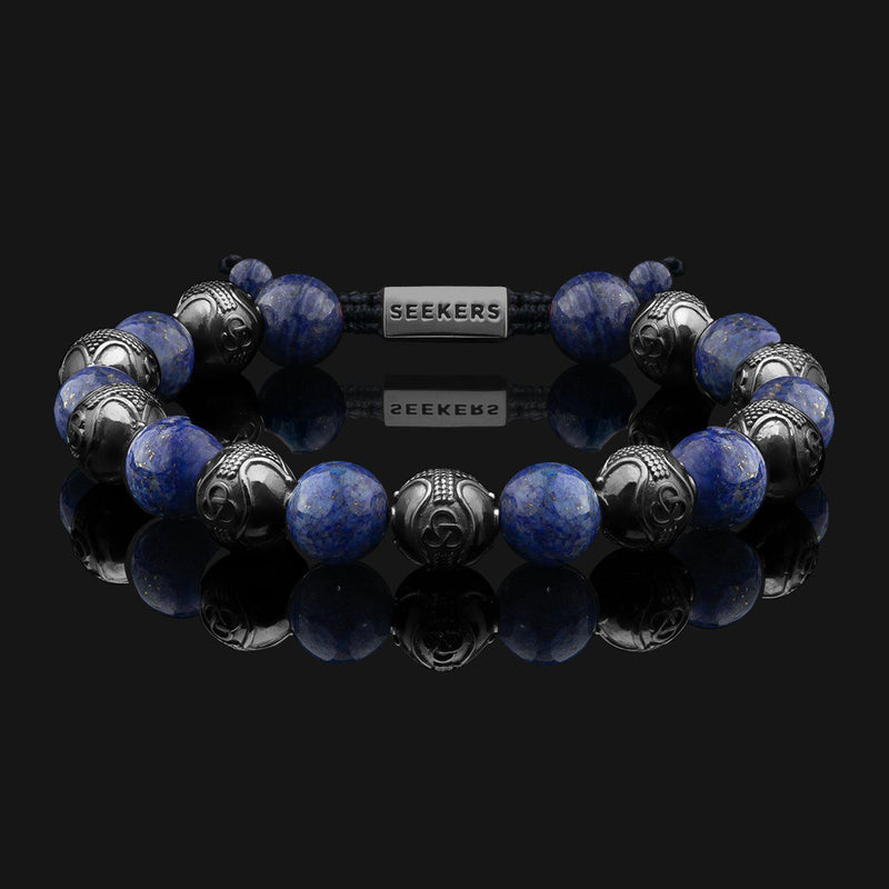 Prestige Lapis Lazuli Black Gold Bracelet-Beaded Bracelet-Seekers Luxury-Seekers Luxury