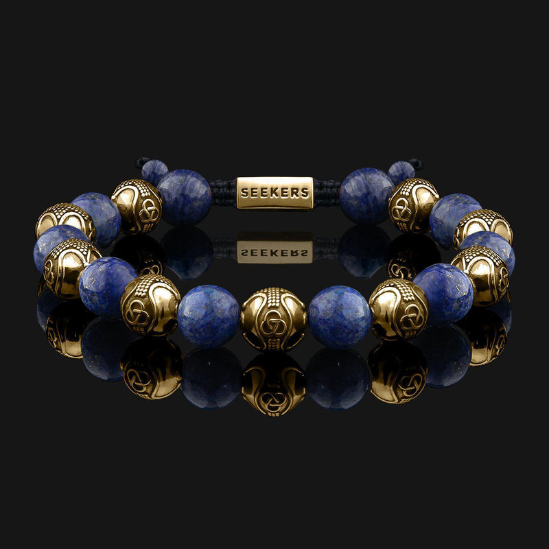 Prestige Lapis Lazuli Gold Bracelet-Beaded Bracelet-Seekers Luxury-Seekers Luxury