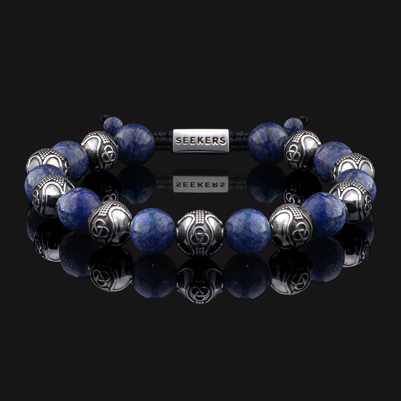 Prestige Lapis Lazuli Silver Bracelet-Beaded Bracelet-Seekers Luxury-Seekers Luxury