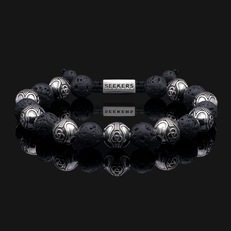 Prestige Lava Silver Bracelet-Beaded Bracelet-Seekers Luxury-Seekers Luxury