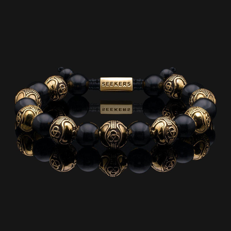 Prestige Onyx Gold Bracelet-Beaded Bracelet-Seekers Luxury-Seekers Luxury