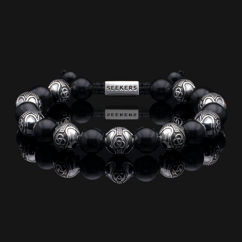 Prestige Onyx Silver Bracelet-Beaded Bracelet-Seekers Luxury-Seekers Luxury