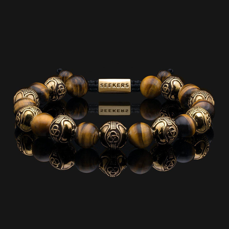 Prestige Tiger Eye Gold Bracelet-Beaded Bracelet-Seekers Luxury-Seekers Luxury