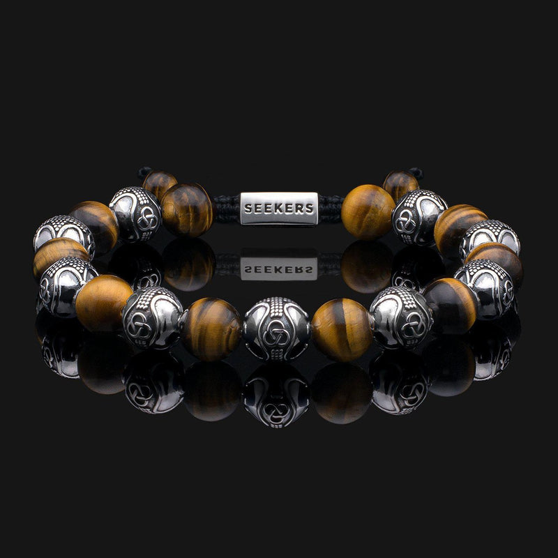 Prestige Tiger Eye Silver Bracelet-Beaded Bracelet-Seekers Luxury-Seekers Luxury