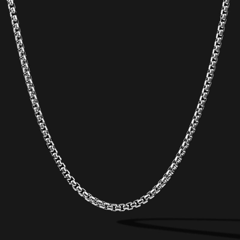 Round Box Silver Chain-Chain-Seekers Luxury-26in - 66cm-Seekers Luxury
