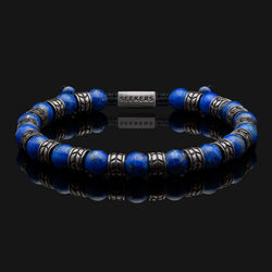 Royale Lapis Lazuli Black Gold Bracelet-Beaded Bracelet-Seekers Luxury-Seekers Luxury