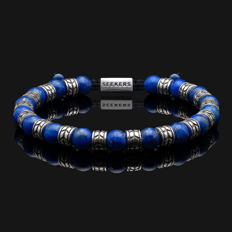 Royale Lapis Lazuli Silver Bracelet-Beaded Bracelet-Seekers Luxury-Seekers Luxury