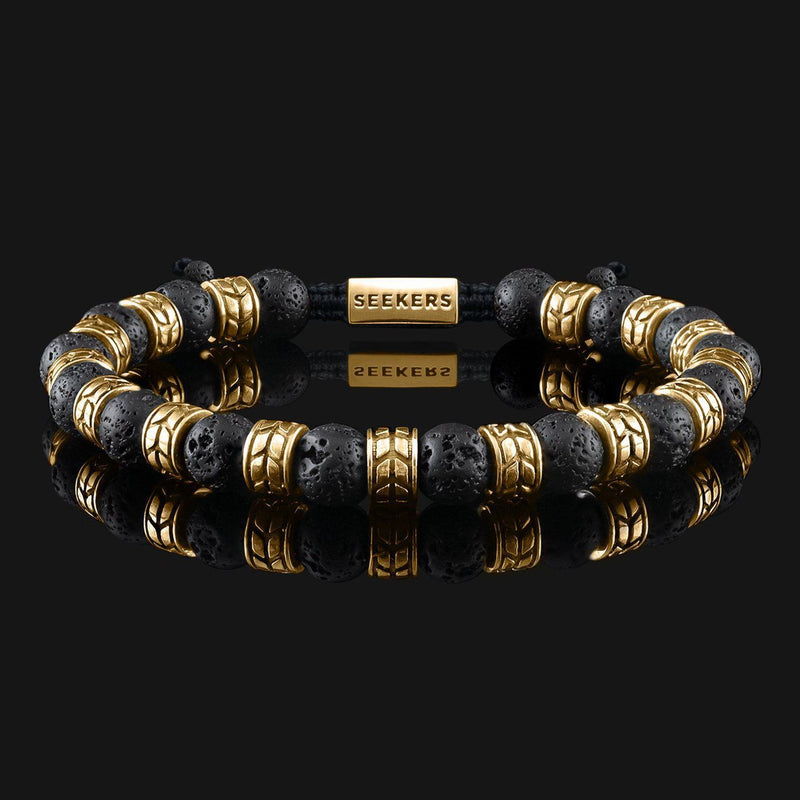 Royale Lava Gold Bracelet-Beaded Bracelet-Seekers Luxury-Seekers Luxury