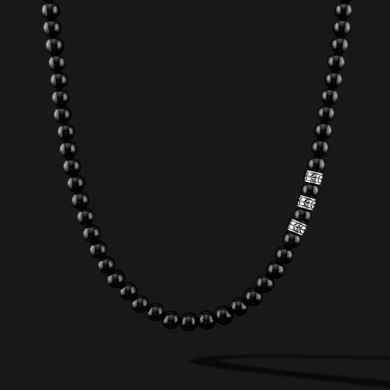 Royale Onyx Silver Necklace-Necklace-Seekers Luxury-Seekers Luxury