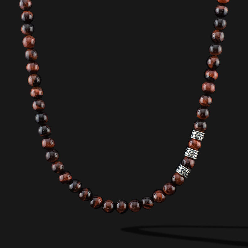 Royale Red Tiger Eye Silver Necklace-Necklace-Seekers Luxury-Seekers Luxury
