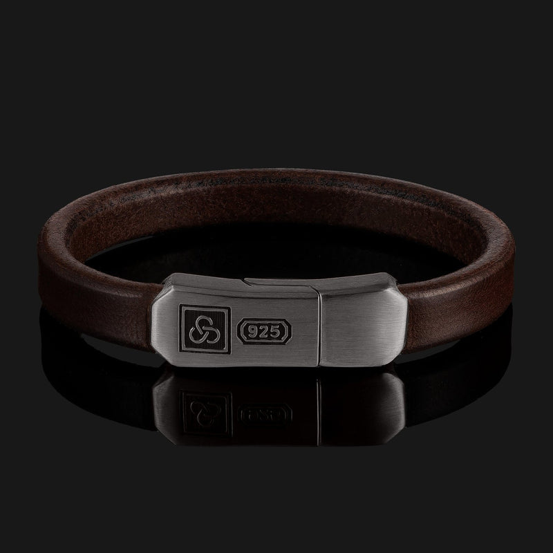 Signature Leather Black Gold Bracelet-Leather Bracelet-Seekers Luxury-XS (6 1/8in - 6 1/2in | 15,5cm - 16,5cm)-Dark Brown-Seekers Luxury