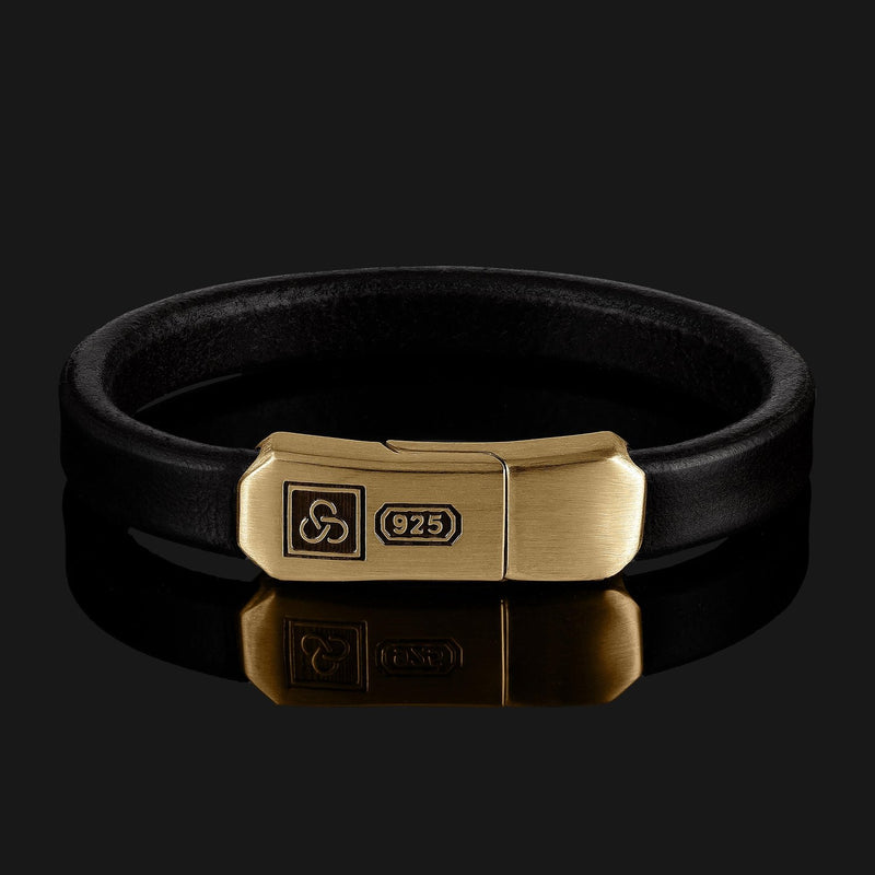 Signature Leather Gold Bracelet-Leather Bracelet-Seekers Luxury-XS (6 1/8in - 6 1/2in | 15,5cm - 16,5cm)-Black-Seekers Luxury