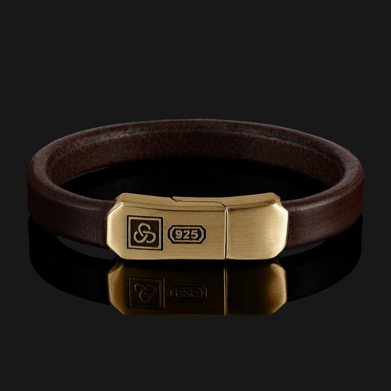 Signature Leather Gold Bracelet-Leather Bracelet-Seekers Luxury-XS (6 1/8in - 6 1/2in | 15,5cm - 16,5cm)-Dark Brown-Seekers Luxury