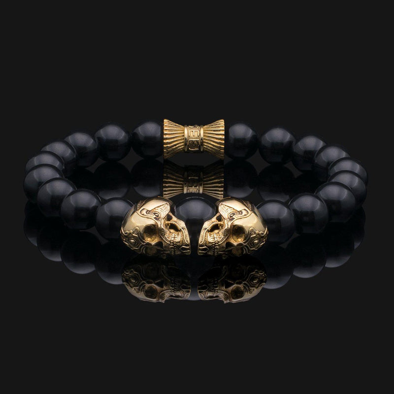 Skull Onyx Gold Bracelet-Beaded Bracelet-Seekers Luxury-Seekers Luxury
