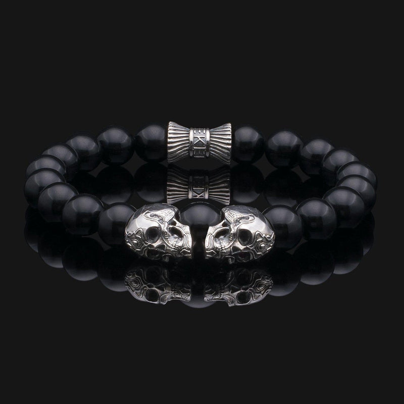 Skull Onyx Silver Bracelet-Beaded Bracelet-Seekers Luxury-Seekers Luxury