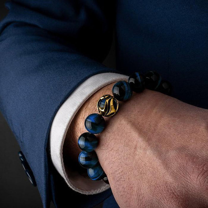 Waves Blue Tiger Eye Gold Bracelet-Beaded Bracelet-Seekers Luxury-Seekers Luxury
