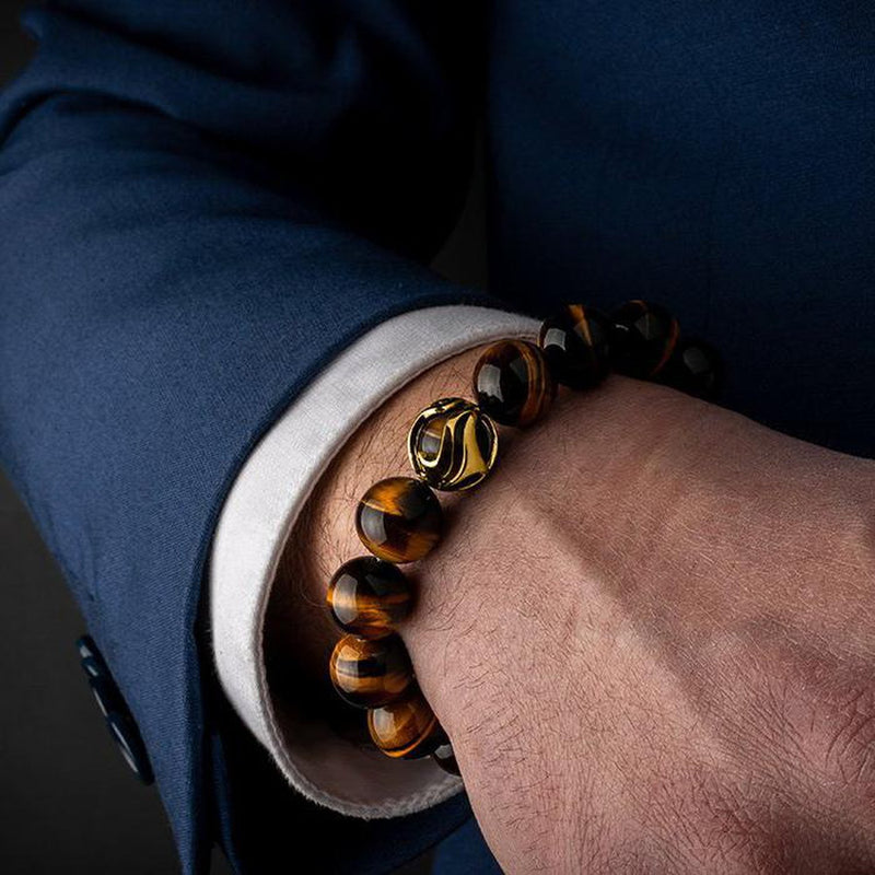 Waves Tiger Eye Gold Bracelet-Beaded Bracelet-Seekers Luxury-Seekers Luxury