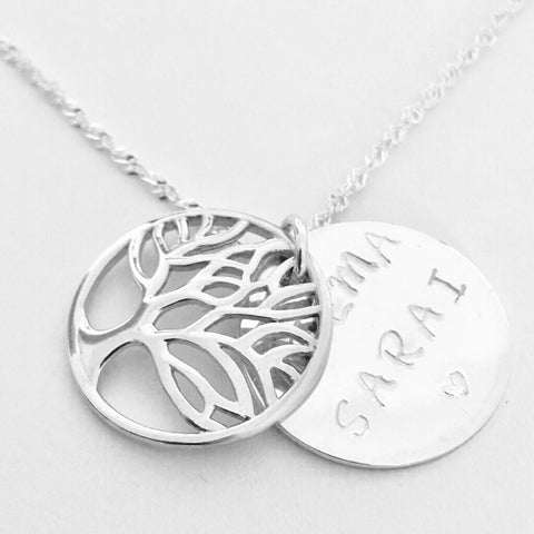 Elega 925 sterling silver hand stamped metal stamped tree of life