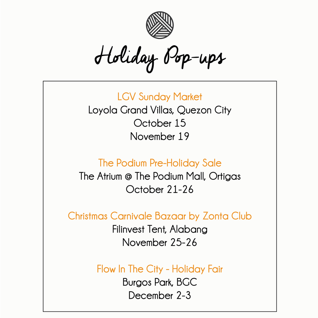 SAVE THE DATES: Holiday Pop-up Schedule