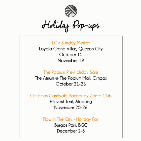 Cocooni Bazaar Pop-up schedule Christmas