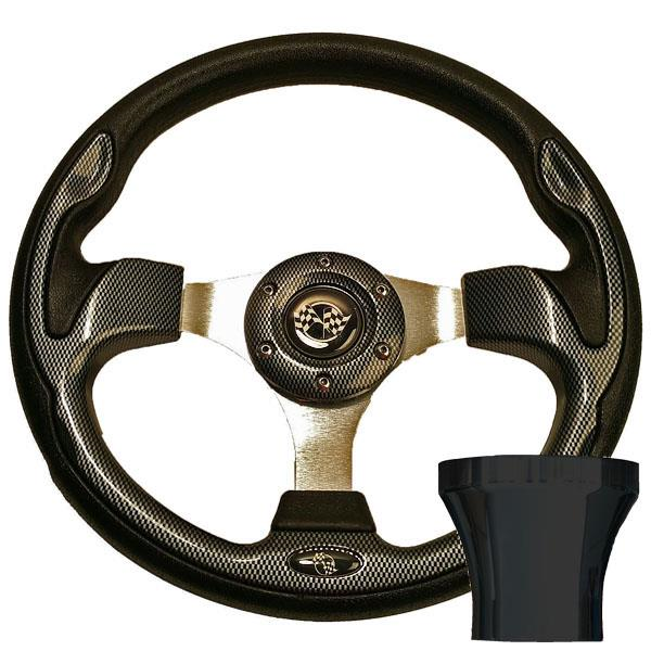 STEERING WHEEL KIT, CARBON FIBER12.5 W/BLACK ADAPTER,