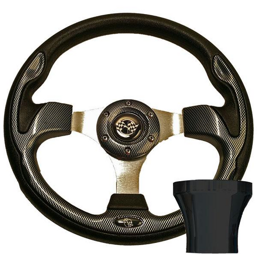 STEERING WHEEL KIT, CARBON FIBER/RALLY 12.5 W/BLACK ADAPTER,