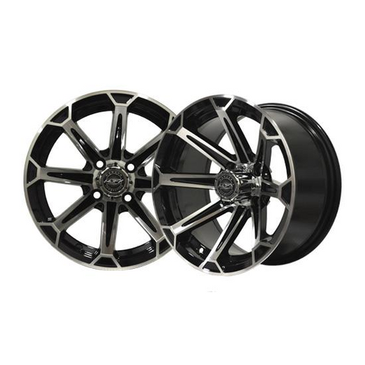 RIM PACKAGE - VORTEX 12x7 Machined/Black with 215/40-12 4 STREET TYRES - SET OF 4