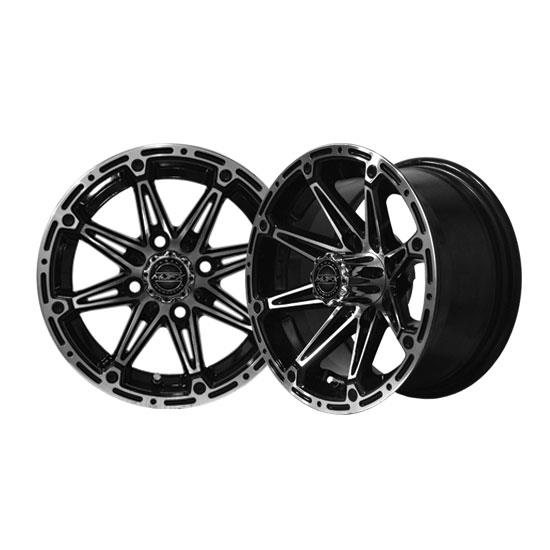 RIM PACKAGE - ELEMENT Machined/Black Wheel 12x7 with 215/35-12 STREET TYRES - SET OF 4