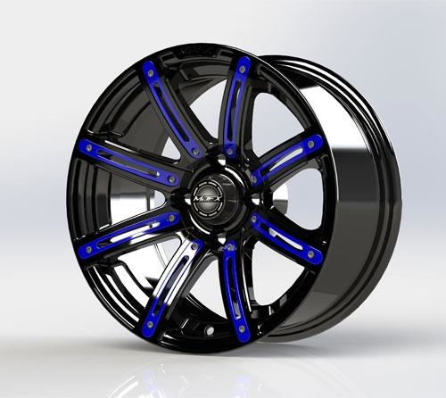 Blue Inserts for Illusion 14x7 Wheel