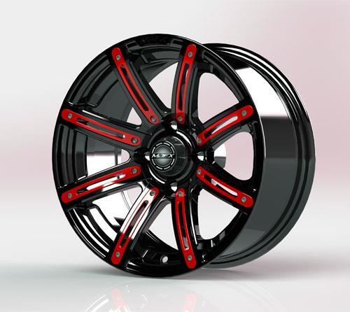 Red Inserts for Illusion 14x7 Wheel