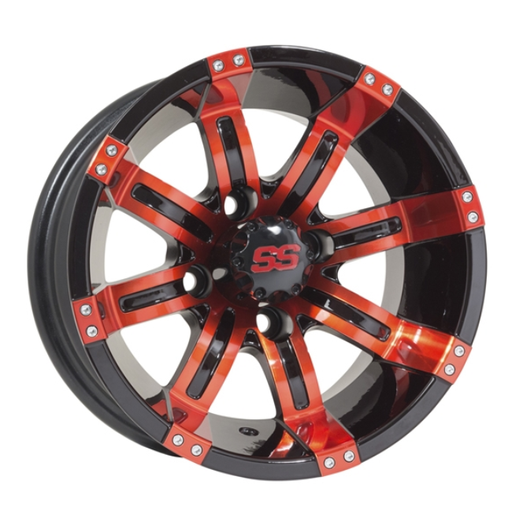 RIM PACKAGE - TEMPEST SS PNTD RED/BLACK 2+4 est (ET-25) 12X6 with 215/40-12 STREET TYRES - SET OF 4