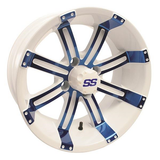 RIM PACKAGE - TEMPEST, BLUE/WHITE W/SS CAP 14X7, 205/40-14 Excel Classic, DOT Tyre - SET OF 4