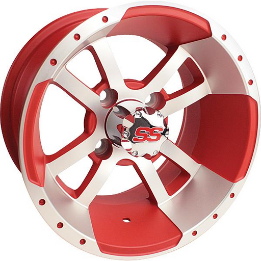 RIM PACKAGE - STORM TROOPER, MACH/MATTE RED W/SS CAP 12X7 - with 215/40-12 4PR EXCEL CLASSIC TYRES - SET OF 4