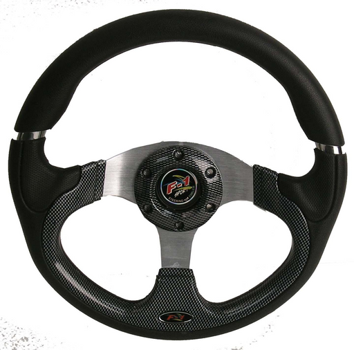 "NLA 12.5"" SPORT CARBON FIBER STEERING WHEEL W/BLACK KIT; EZGO"
