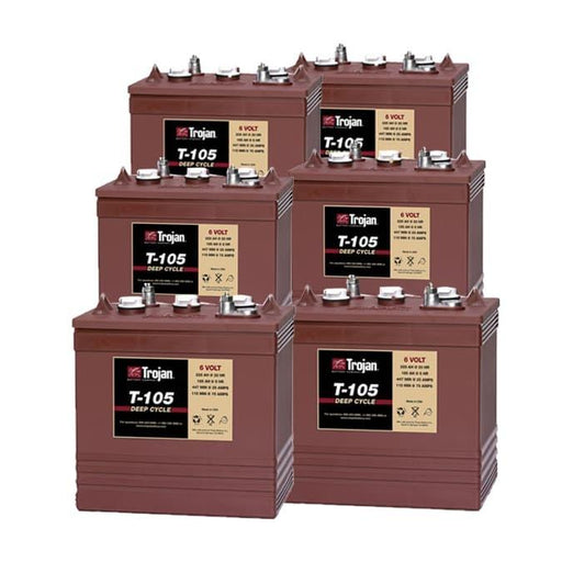 6 Volt Deep Cycle Golf Cart Battery | T-105 - Set of 6