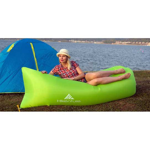 Hikenture Air Filled Lounger For Camping,Outdoor Hangout,Beach,Indoor - Portable Carry Bag (Green)