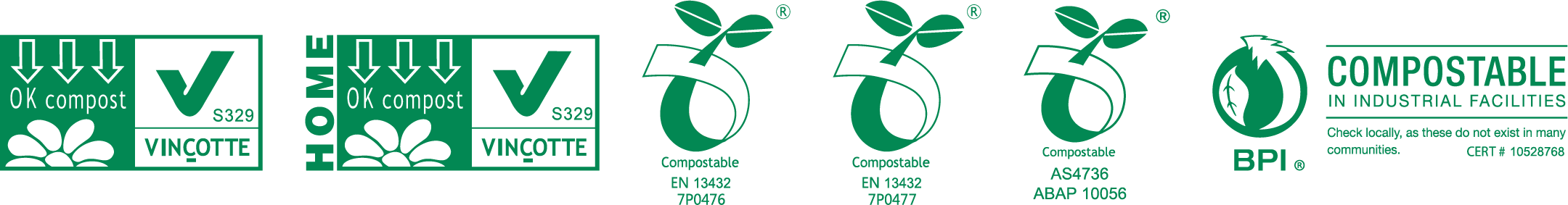 Oh Crap Compostable Certifications Logo's