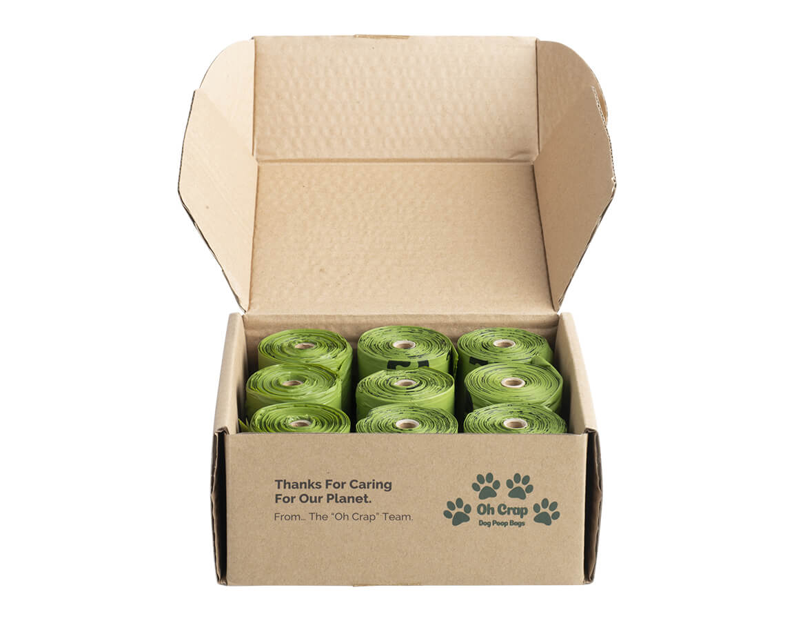 Oh Crap Non Plastic Compostable Biodegradable Dog Poop Bags 6 Month Pack With The Top of the box Open So You Can See The Rolls Inside