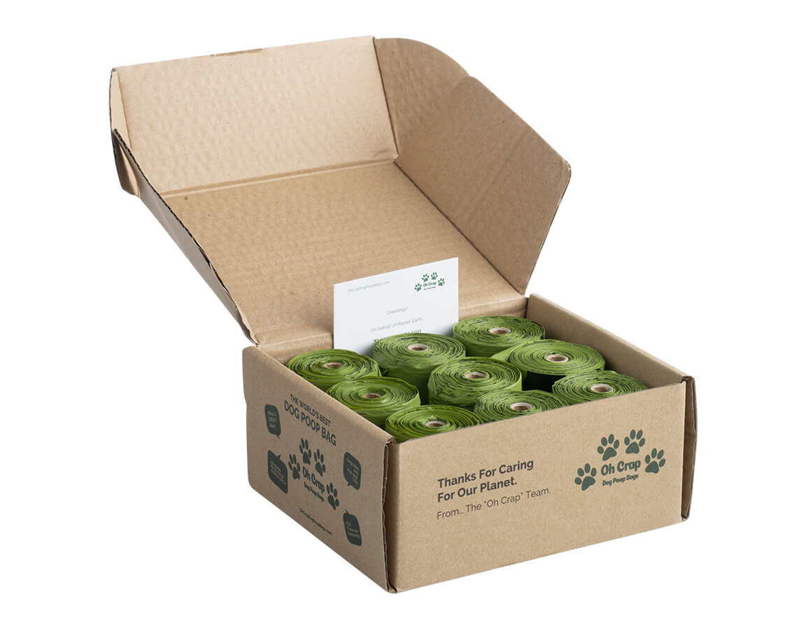 An image of the left hand side of the Oh Crap Non Plastic Compostable Biodegradable Dog Poop Bags 6 Month Pack box