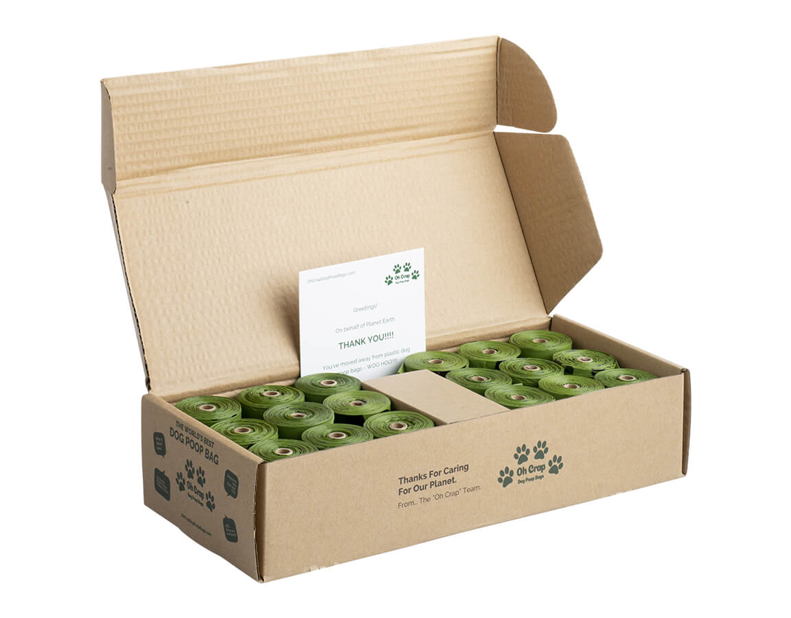 The front left of the Oh Crap Non Plastic Compostable Biodegradable Dog Poop Bags 12 Month Pack box