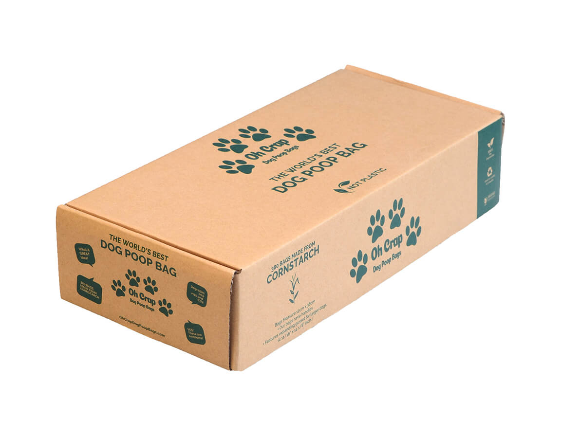 An image of the left hand side of the Oh Crap Non Plastic Biodegradable Dog Poop Bags 12 Month Pack box