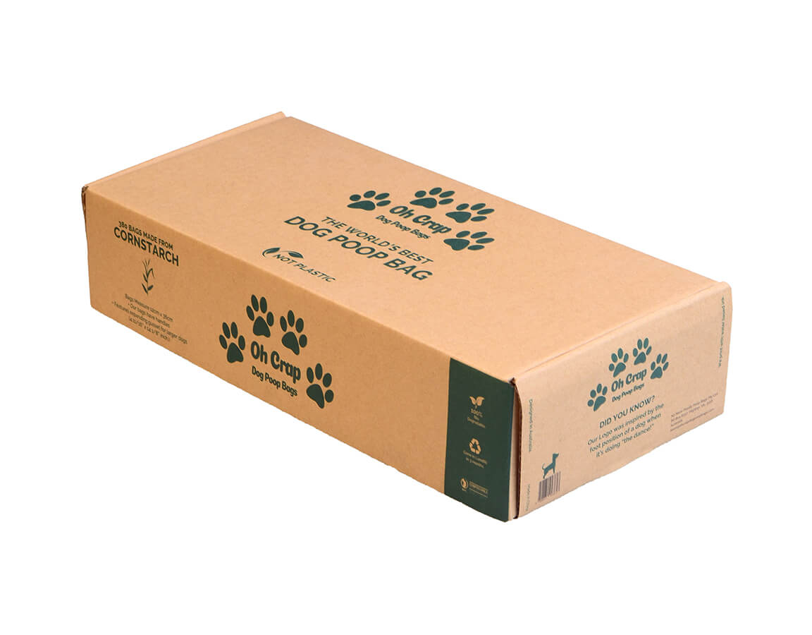 An image of the right hand side of the Oh Crap Non Plastic Biodegradable Dog Poop Bags 12 Month Pack box