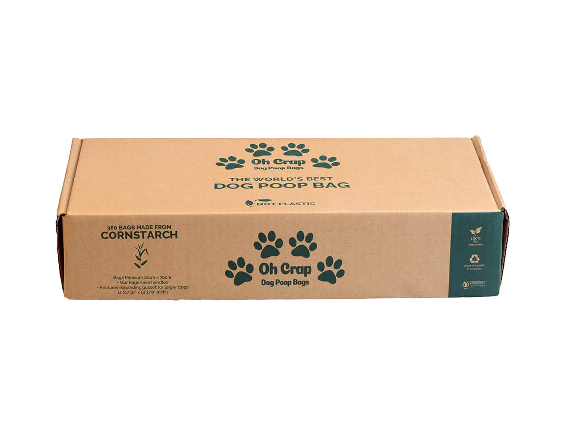 The front of the Oh Crap Non Plastic Biodegradable Dog Poop Bags 12 Month Pack box