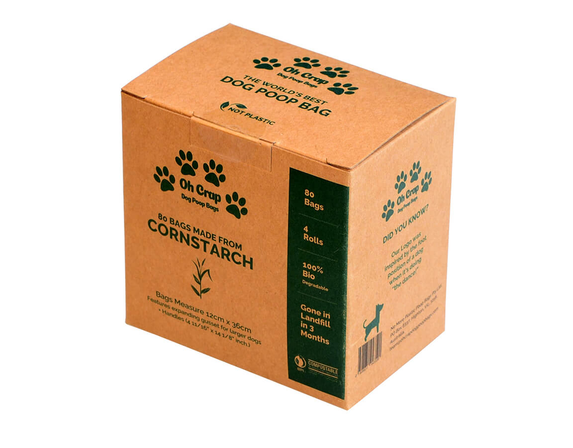 An image of the right hand side of the Oh Crap Non Plastic Biodegradable Dog Poop Bags 2 Month Pack box