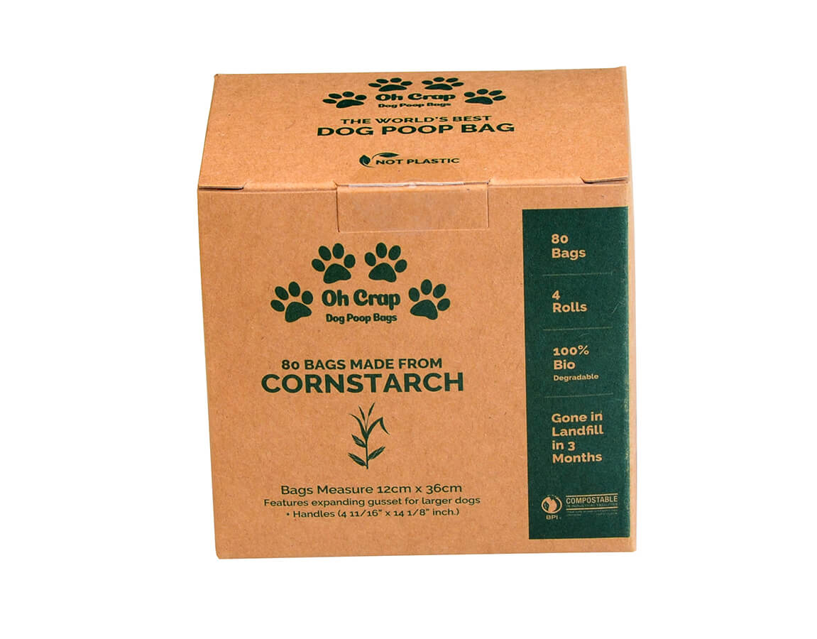 The front of the Oh Crap Non Plastic Biodegradable Dog Poop Bags 2 Month Pack box