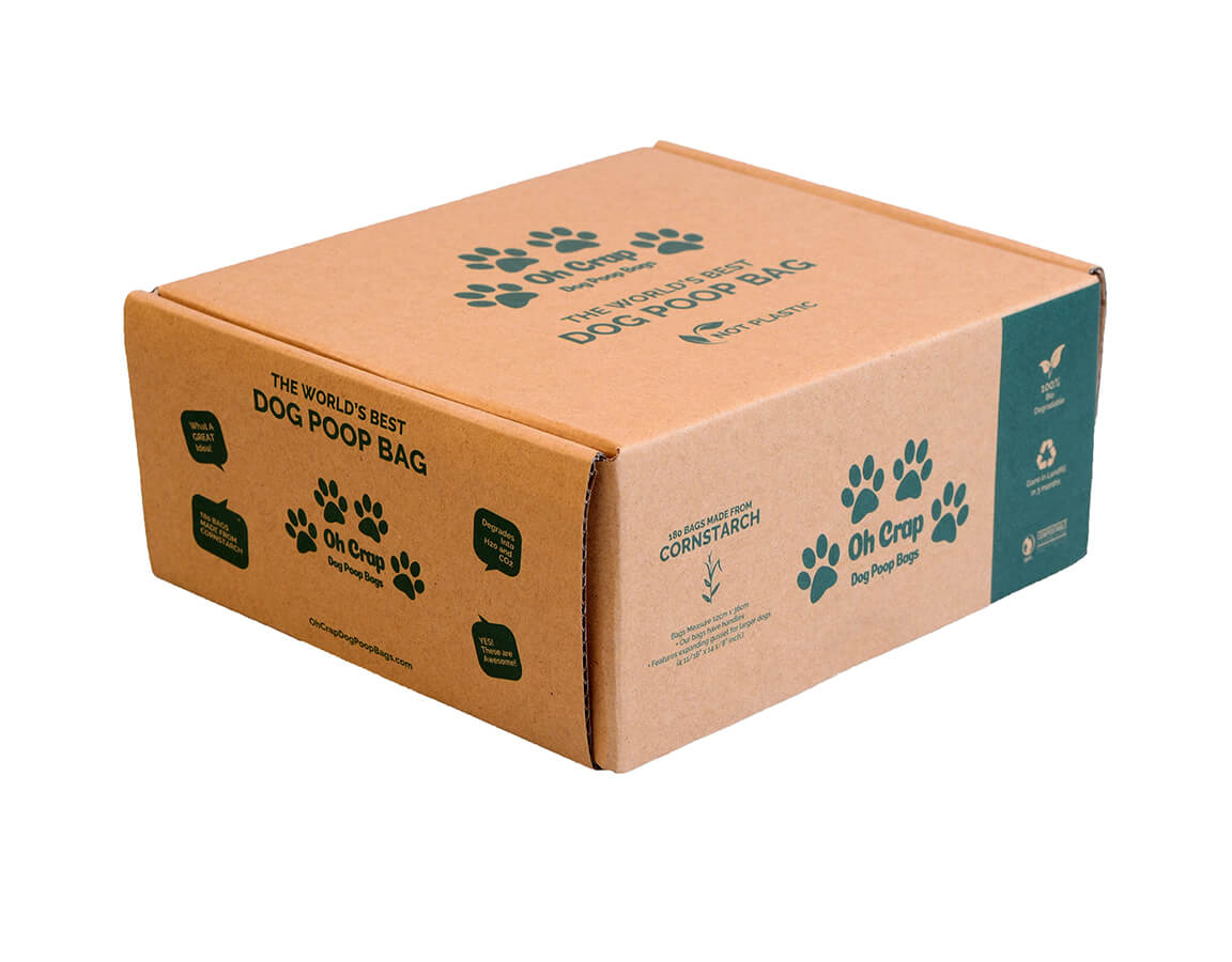 An image of the left hand side of the Oh Crap Non Plastic Biodegradable Dog Poop Bags 6 Month Pack box