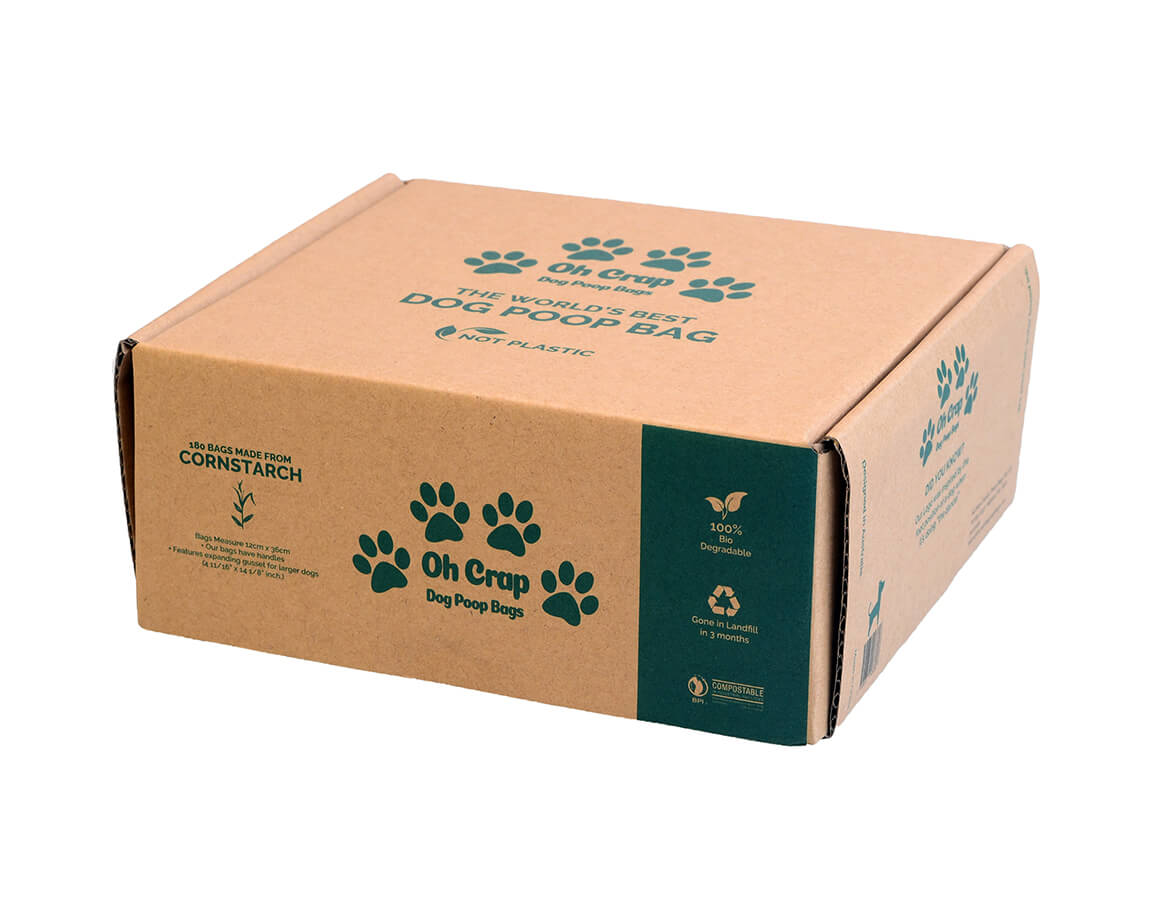 An image of the right hand side of the Oh Crap Non Plastic Biodegradable Dog Poop Bags 6 Month Pack box
